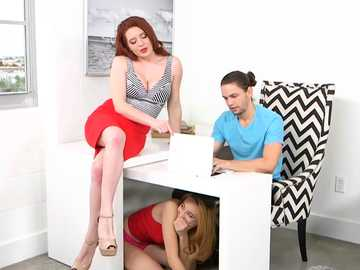 Lolo Punzel gets under the table to suck cock and Veronica Vain almost spoils the fun